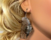 LP 853 Opalized Brown And Grey Tiffany Stone Earrings