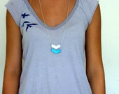 Geometric Two Chevron sky blue and white leather Necklace