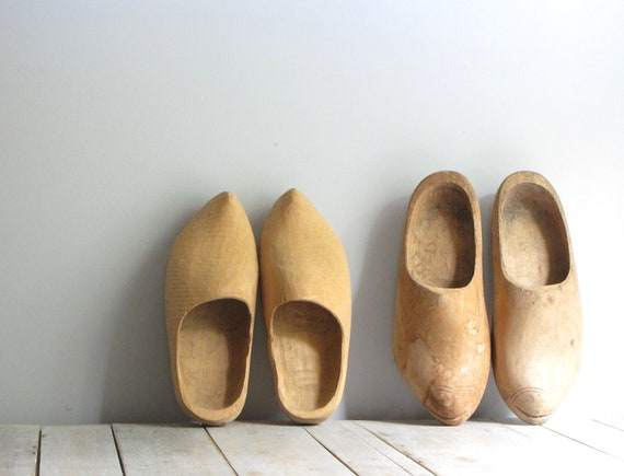 antique wooden clogs - his & hers