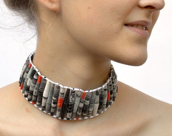black gray red: Choker with paper beads - One of a kind