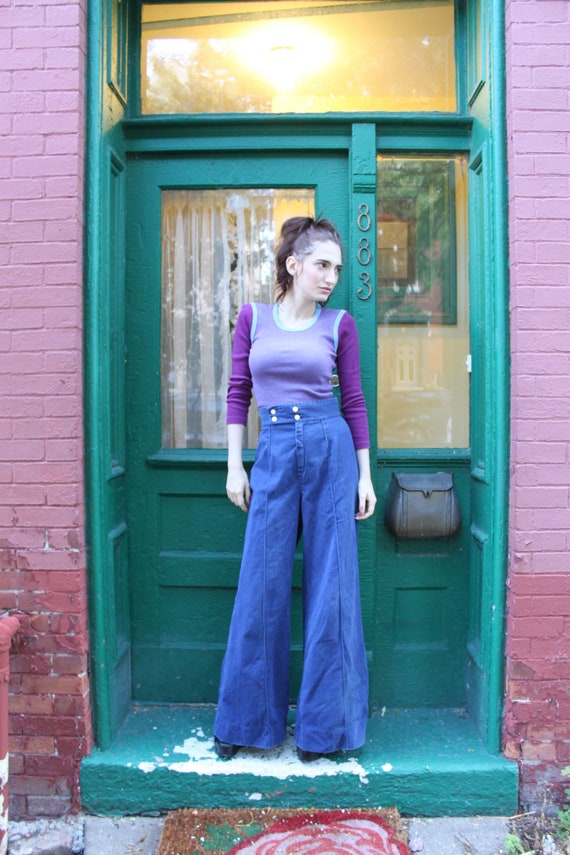 High Waist Wide Leg 1970s Pants Jeans Blue S Small M MediumLong