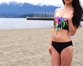 80's Splash Fringe Bikini Top with Regular Bottoms