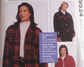 Sewing With Nancy Pattern - Unlined Jacket - McCall's 9524 - Sizes S, M, L, XL - Bust 32 1/2 - 44, Uncut