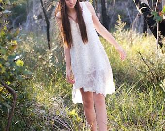 Organic peace silk nature sprite wedding dress