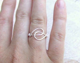 Holding Hands Friendship Ring Sterling Filled Wire Wrapped Ring Simple Ring Wire Wrap Artisan Handmade Jewelry Under 10 Rings Under 10