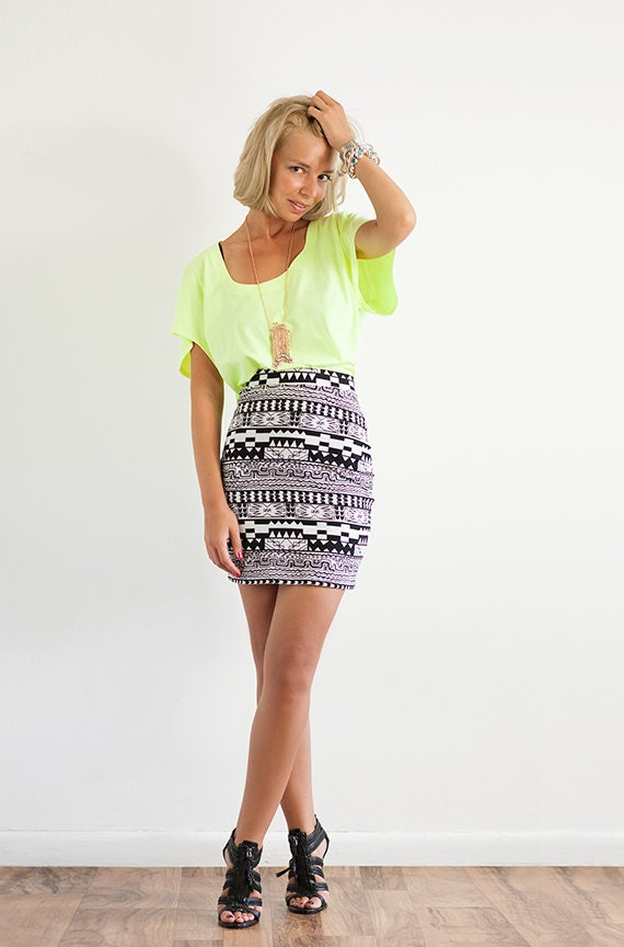 Aztec Print Stretch Jersey Mini Skirt