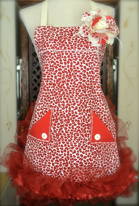 Red Retro - Leopard Print Apron - With Red Ruffle - Hostess - Cocktail Party
