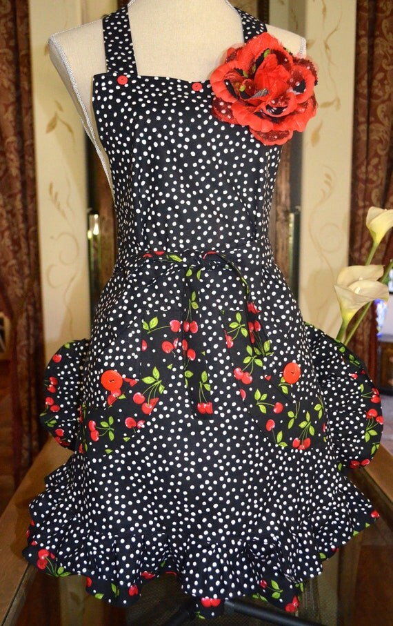 Retro Red Cherry -Womens Full Apron - Black Polka Dot - Double Ruffle