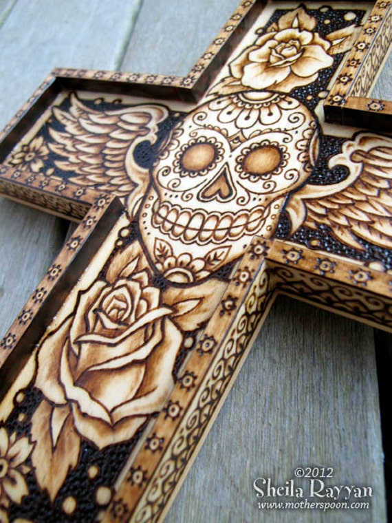 Sugar Skull Day Of The Dead Cross Pyrography