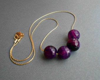 Agate Necklace Dyed in Amethyst Color On Gold Chain