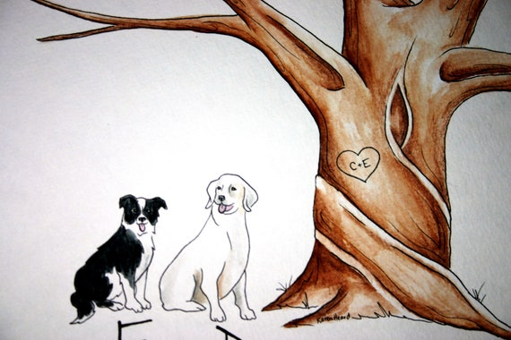 Wedding Tree Guest Book add-on . Original thumb print Water Color Illustration- Add your Pet, cat, dog