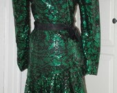 80s Arnold Scaasi Mini Party Dress, Fully Sequinned, Green & Black, Mermaid, NWT, Size S