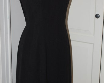 50s, 60s Cocktail Dress, LBD, Crepe, Architectural, Porcellini Torino, Size Small