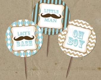 Vintage Inspired Mustache Bash Party Favor Tags Cup Cake Toppers - DIY Digital U Print