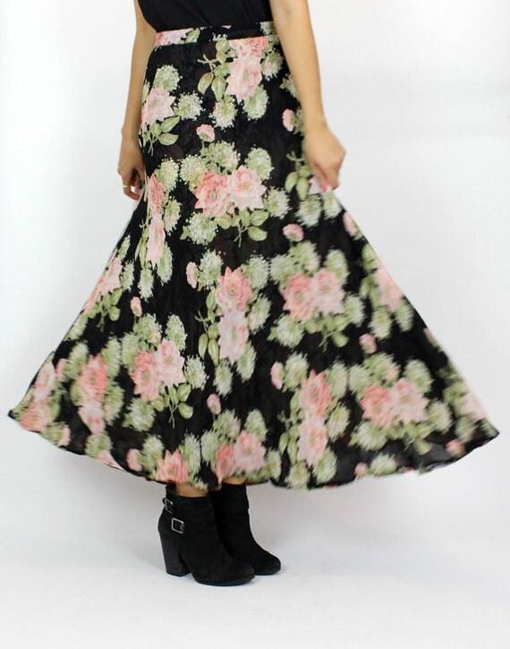 rose floral gauze maxi skirt / reversible