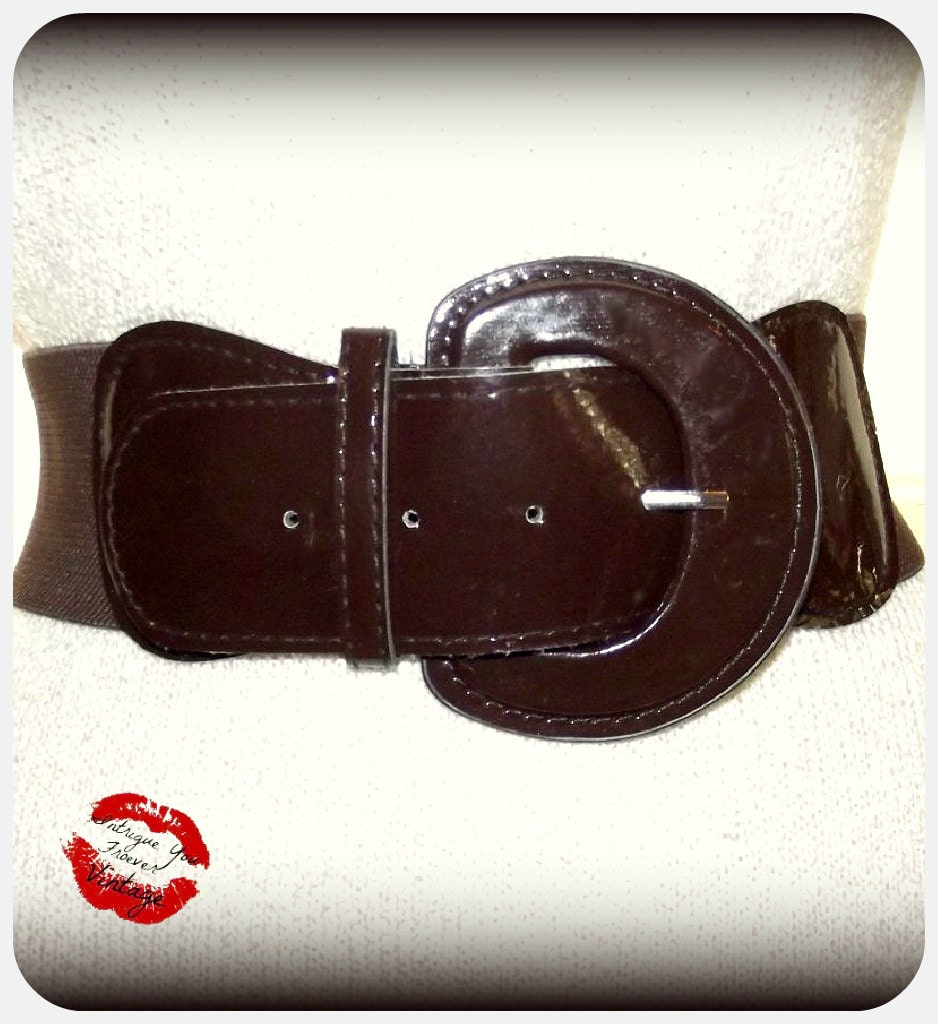 vintage 80s bold brown patent wide stretch belt by