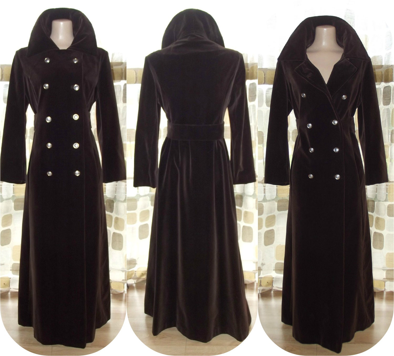 Vintage 70s Brown Velvet Opera Coat Victorian Steampunk M L
