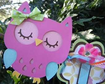 Colorful Owl Its a Girl Banner in Pink brown blue orange purple