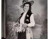 Vintage French Photograph - Woman in Costume with a Basket of Flowers