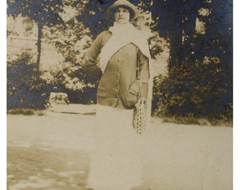 Antique French Photo Postcard - Woman in July 1913