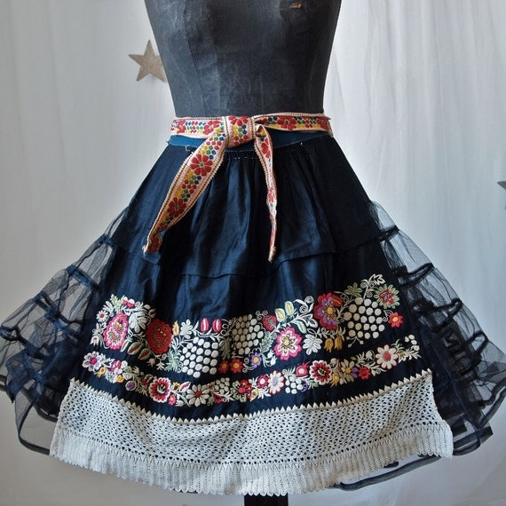 Czech Moravian Hand Embroidered Crocheted Folk Costume Apron Black with Flowers, Fruit 1930's