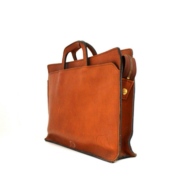 Vintage WHISKEY Brown Leather Briefcase Laptop Bag