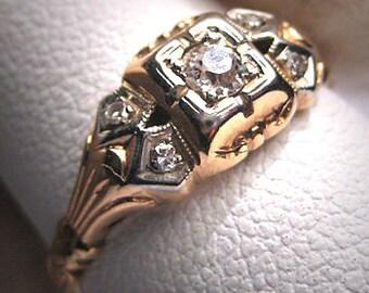 Antique Diamond Wedding Ring Vintage Victorian Art Deco