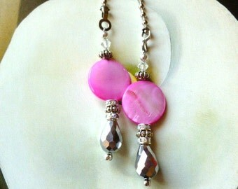 Ceiling Fan Pulls, Pink Glam Ceiling Fan Pulls, decorative light pull, handmade by gviolet