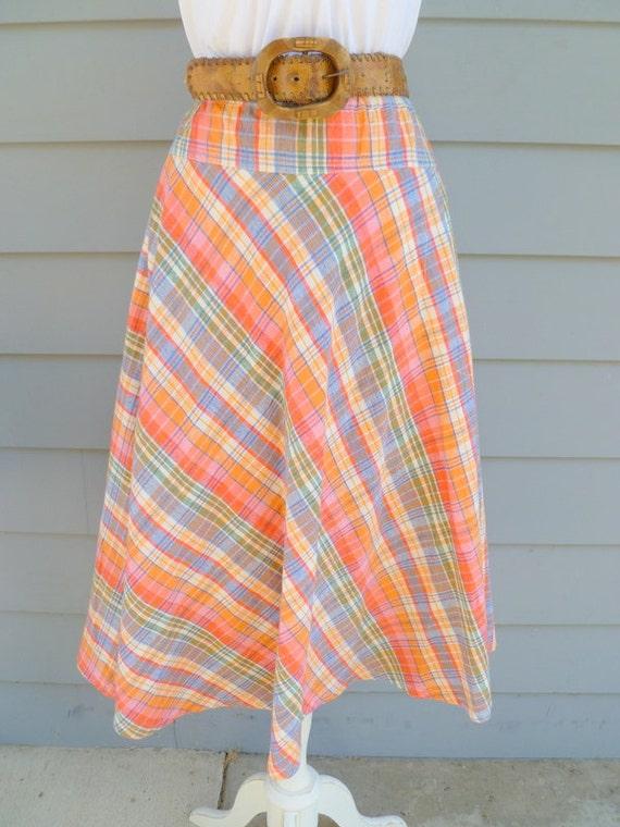 1970s plaid full midi skirt