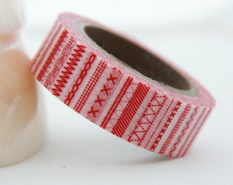 Red Stitches Washi Masking Tape Roll 15mm x 10m WT150
