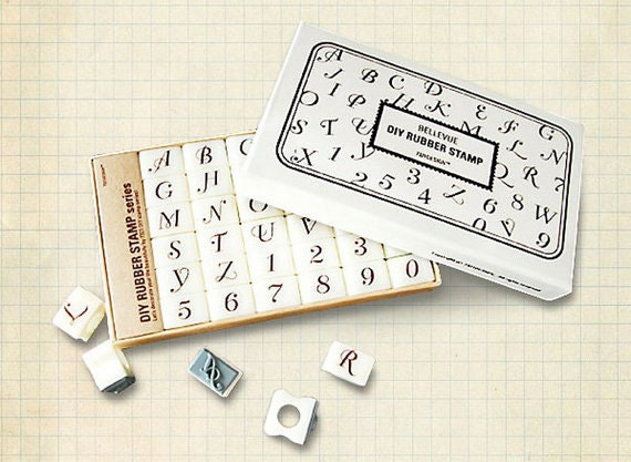 Calligraphy alphabet rubber stamps uppercase letters