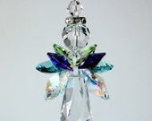 "Suncatcher m/w Swarovski Crystal, LARGE Quadruple Winged Guardian Angel with AB & Peacock Colors, Includes ""Made with Swarovski Crystal"" Tag"