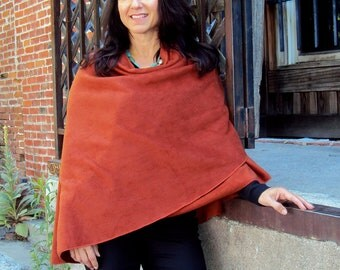 One Size-lightweight Polar Fleece Shawl/Poncho. Color shown in large photo is Rust