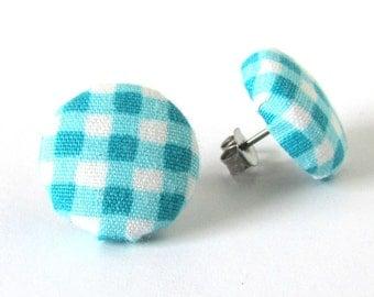 Blue gingham stud earrings - blue fabric button earrings white plaid tartan check