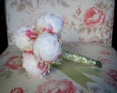 Ivory Peony Wedding Bouquet - Ivory and Mint Peony Bud Bouquet