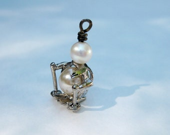 Christmas gift for her Sterling Silver Snowman with pearls vintage silver Holiday dress up jewelry  gifts under 15  last minute gift idea