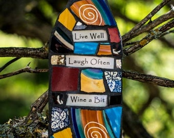 Custom Mosaic Wine Bottle Wall Art with Whimsical Message MADE TO ORDER