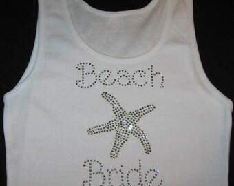beach bride starfish rhinestone tank top