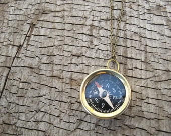 SALE // Working Compass Charm Necklace // Nautical Necklace // Pendant Necklace // Travel Compass // Vintage and Antique