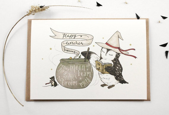 Halloween Card - Happy Witches Brewing - Greeting Card