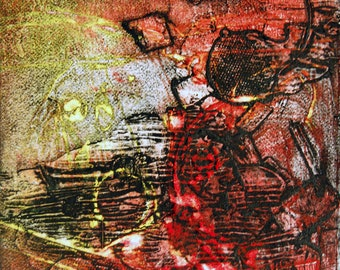 There's A Storm A Brewin', small, original, monoprint collograph, hand pulled print