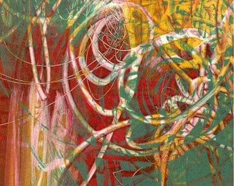 """Scribble, small, hand-pulled, original monotype, 5"""" x 7"""""""