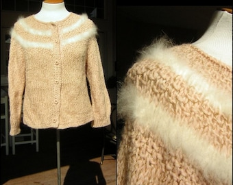 """Pink Cardigan Sweater - L - Hand Knit Fluffy Maribou or Angora Trim - Bust 44"""" Vintage 60s"""