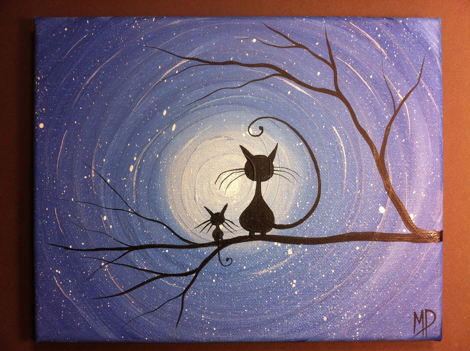 Original whimsical cat painting i like it 8 x 10 acrylic on for Cat paintings on canvas