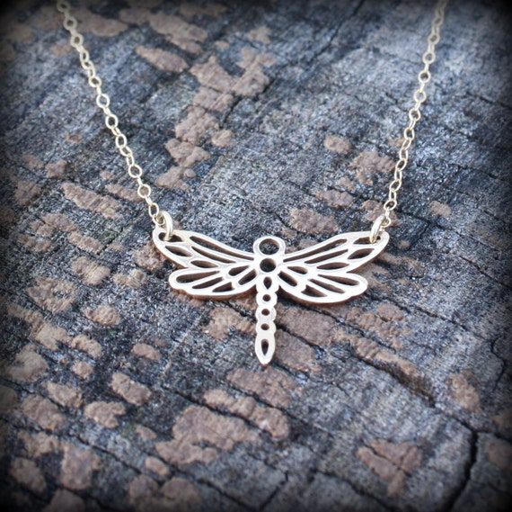 CYBER MONDAY Sale: Dragonfly Necklace - Gold . Flying Dragonfly . Art Nouveau Inspired Design