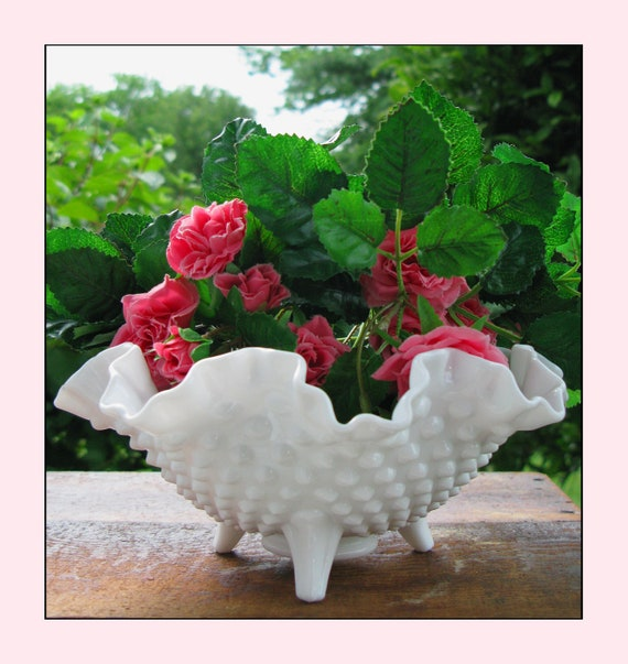 Reserved for Janice - Fenton Milk Glass Hobnail Bowl And Westmoreland Ivy Bowl