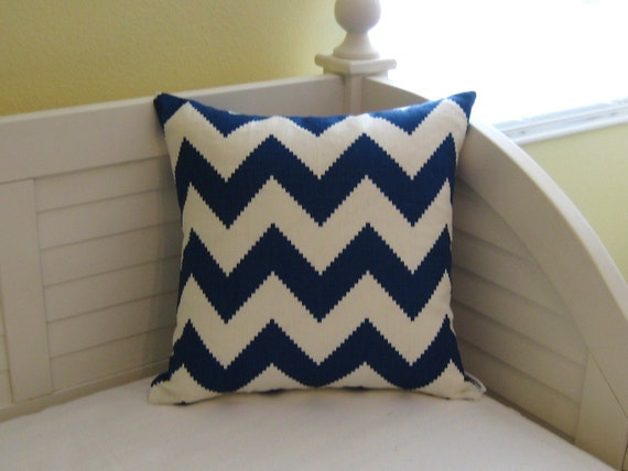 "Jonathan Adler for Kravet - New - Limitless in Marine Blue Chevron 18""x18"" Pillow Cover"