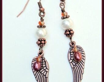 Long Copper Angel Wings, White Pearl Earrings, Free Shipping.