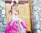 Victorian Flower Girl Dress - Victorian Gown - (Ball Gown with Feathers)