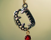 SALE Vampire Fang Necklace - Silver Once Bitten Charm Vintage Red Swarovski Crystal Blood